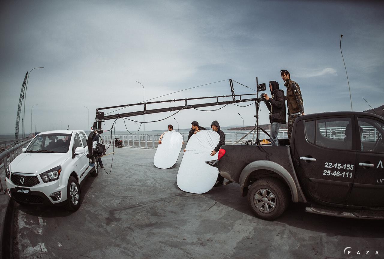 На съемках рекламы автомобиля SsangYong Actyon Sports